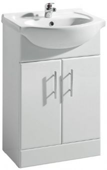 High Gloss White 550mm Basin Unit